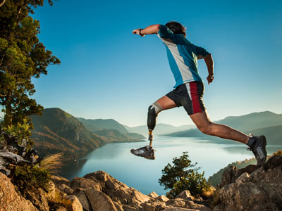 Man with Prosthetic Leg Jumping Photo