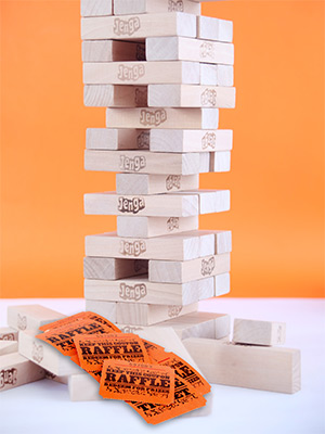 Jenga Game and Raffle Tickets Illustration