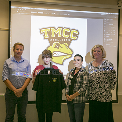 Photo of GRC student recognized for athletics logo design