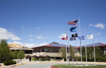 Dandini Campus with flags