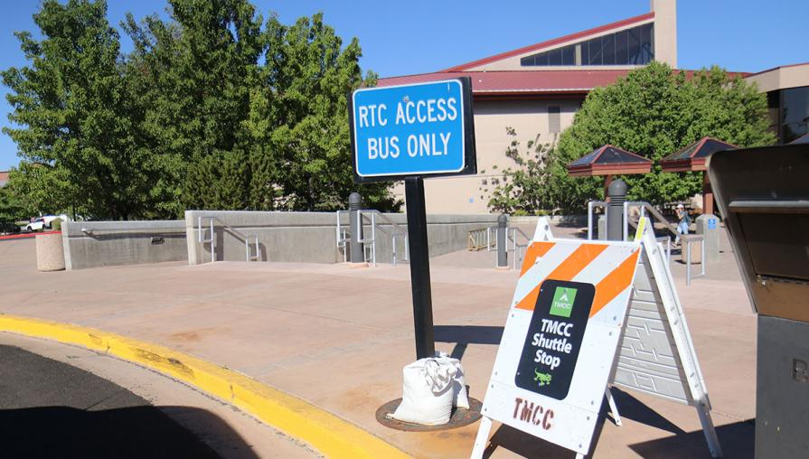 TMCC Shuttle stop at the Sierra Building