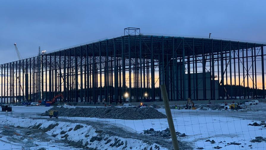 The Northvolt factory under construction in Sweden.