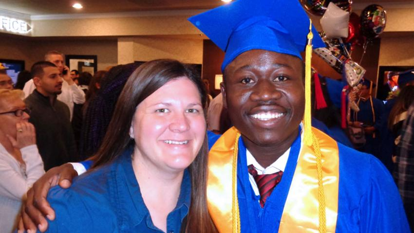 George Mywinnyaa with his wife at his TMCC graduation in 2015.