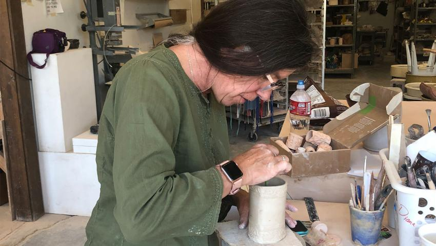Wedge participant Diana Keef-Adams at work on a ceramic project.