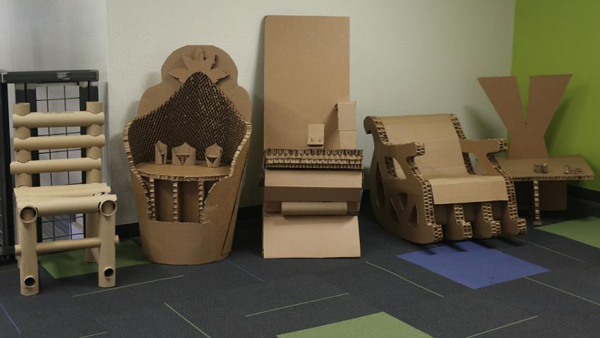 Cardboard chair designs from the DICE competition.