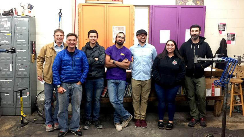 Architecture students visiting the Reno Bike Project shop.