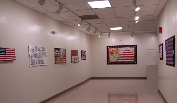 Artwork displayed on gallery walls.