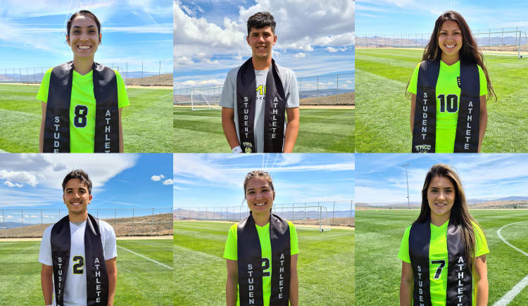 Six members of the Mighty Lizard soccer teams who are graduating in 2021.