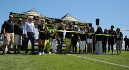 Ribbon cutting at TMCC Soccer opening day.